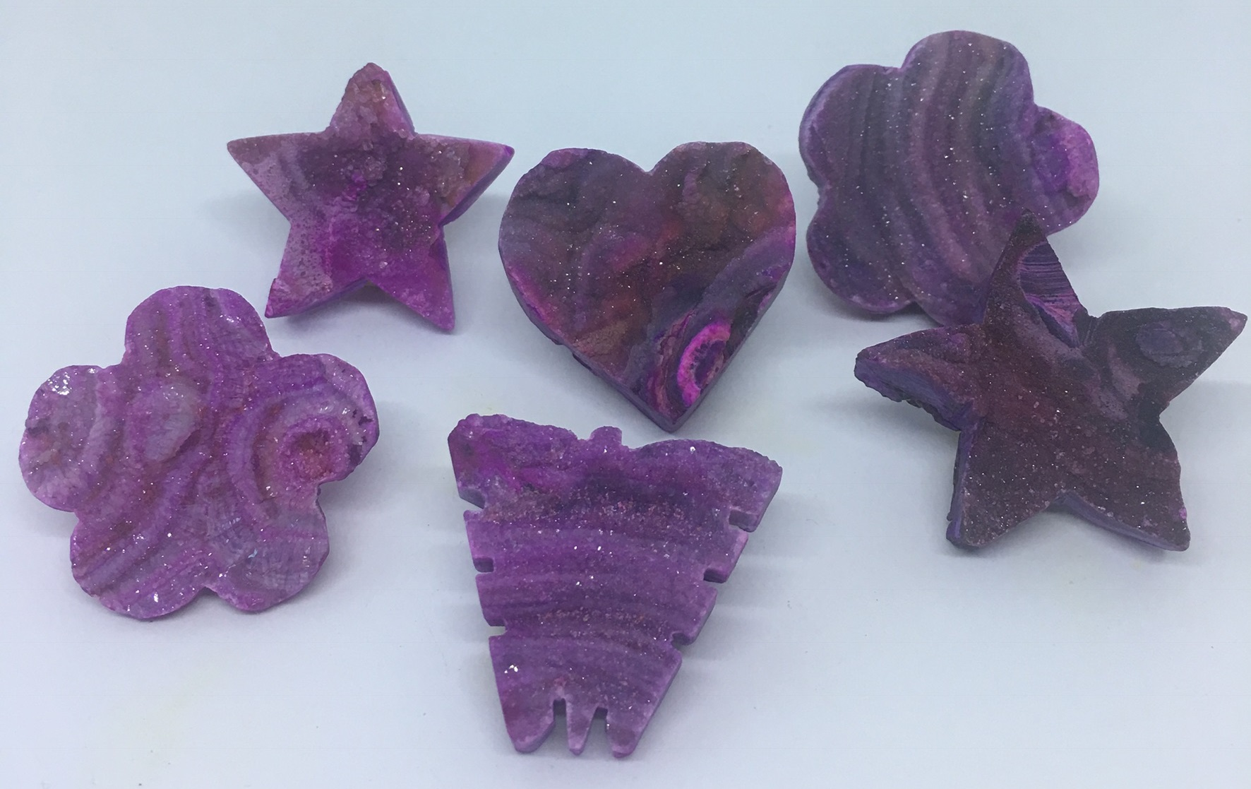 Stones from Uruguay - Pink Dyed Chalcedony Druzy Shapes for Pendant Making