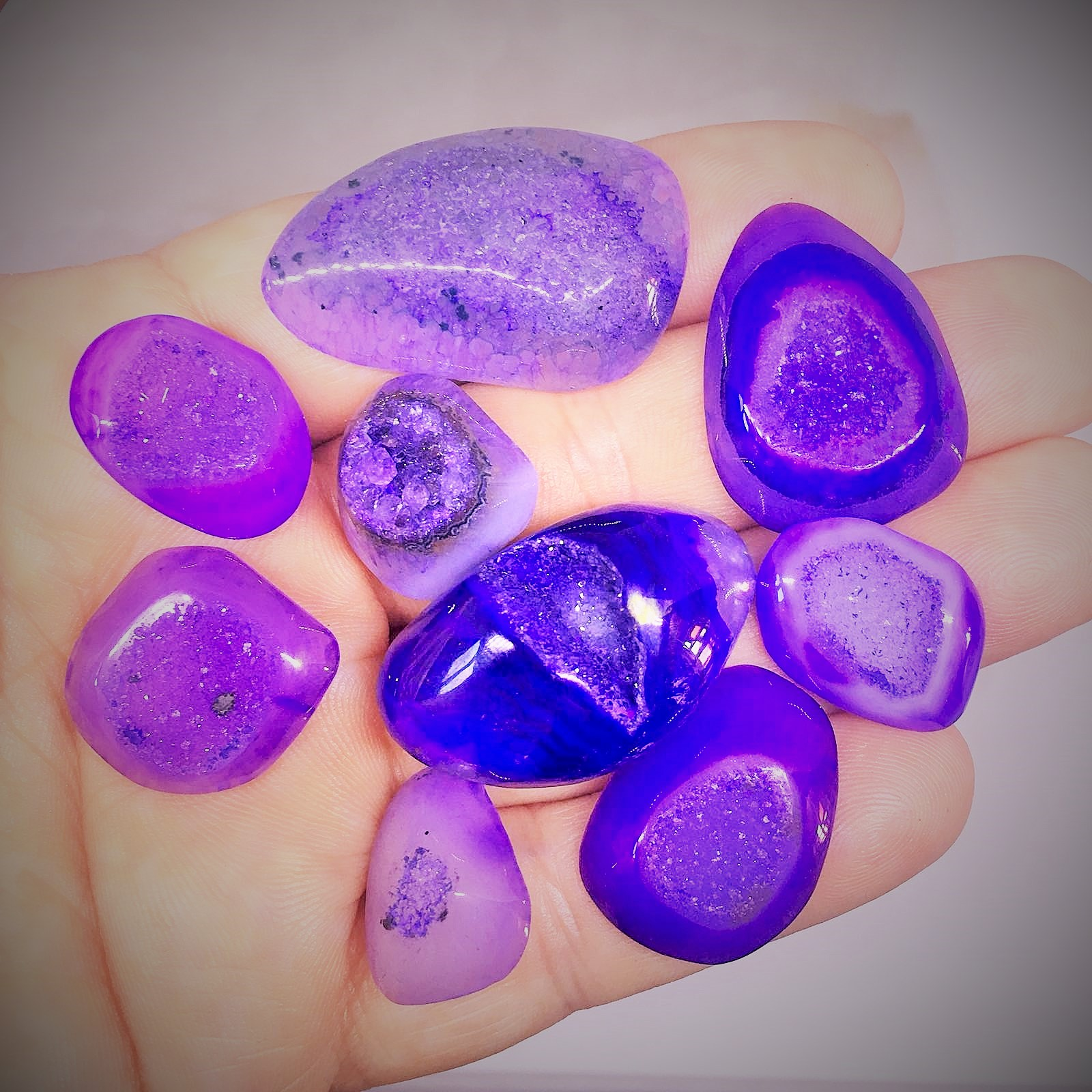 Stones from Uruguay - Purple Dyed  Druzy Free Form Cabochon
