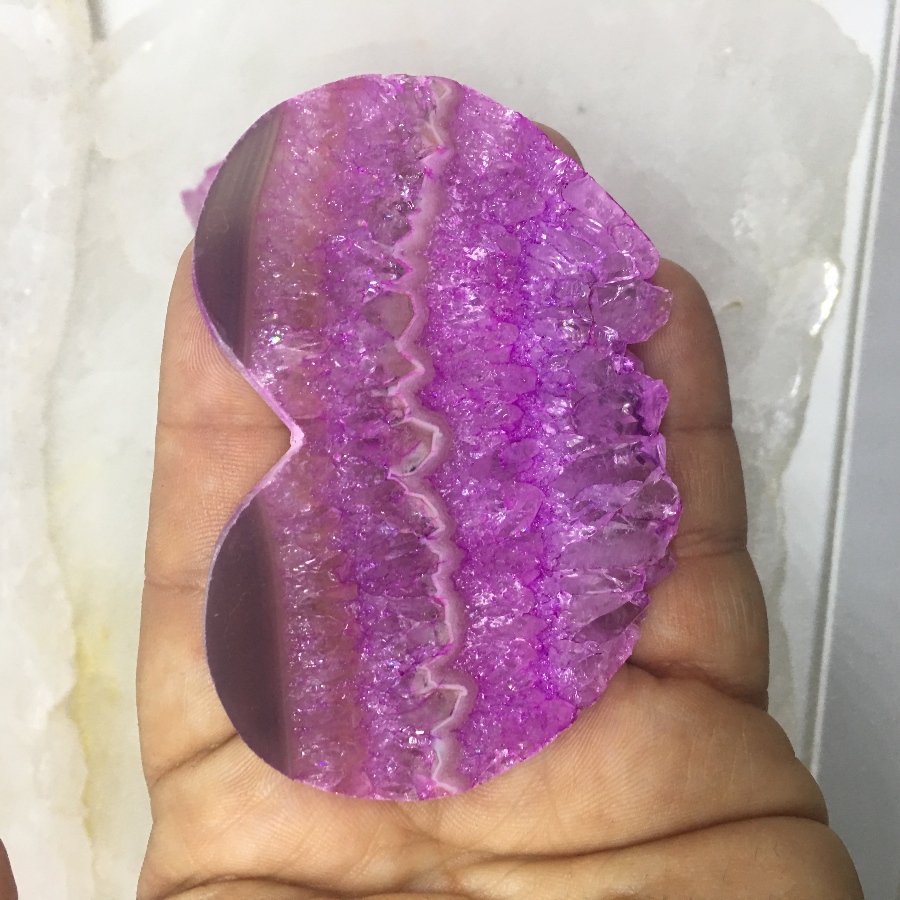 Stones from Uruguay - Pink Dyed Amethyst Druzy Heart Slice for Jewelry Making
