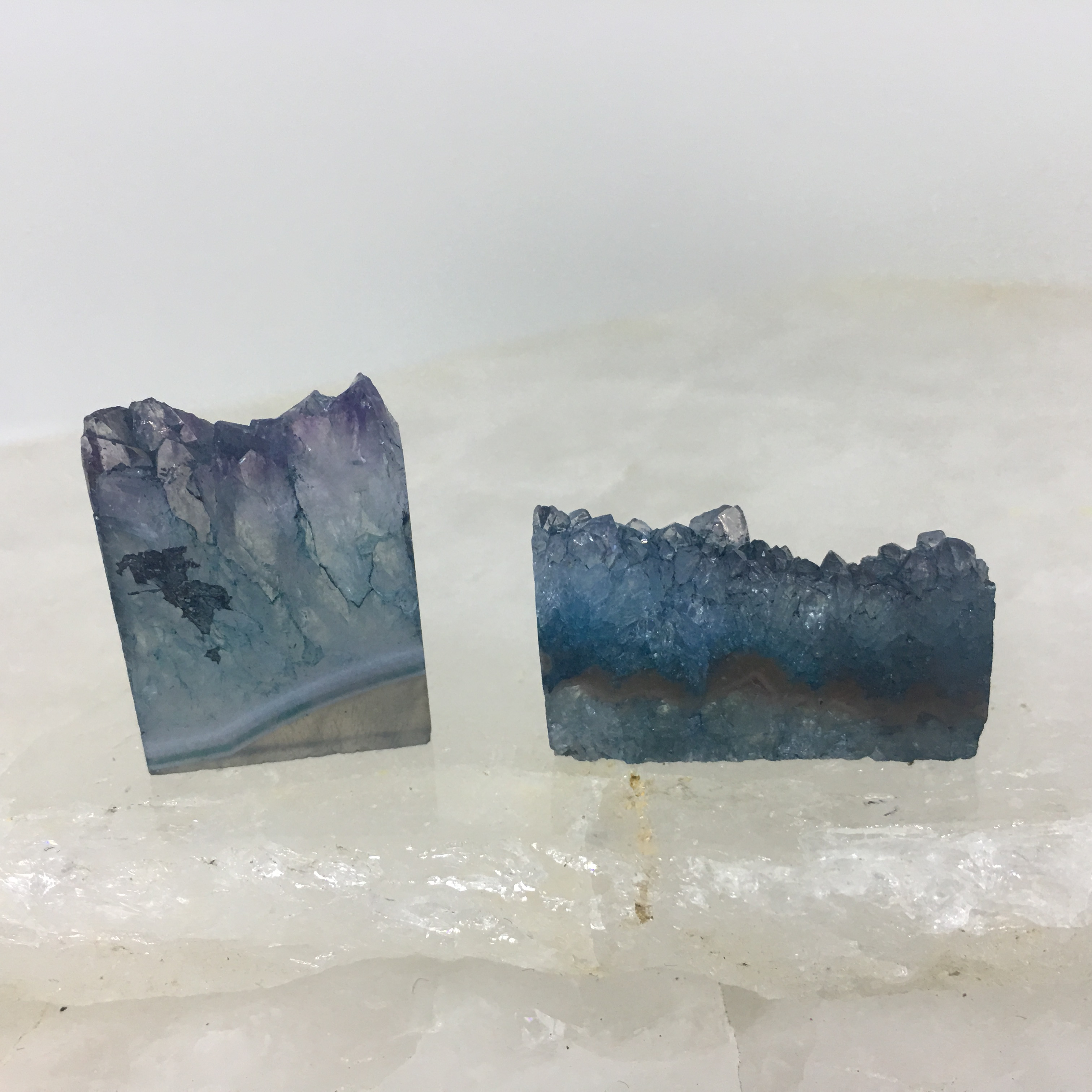 Stones from Uruguay - Teal Dyed Amethyst Rectangle Slices for Jewelry Making