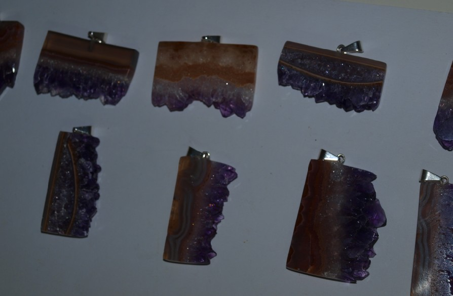 Stones from Uruguay - Amethyst Slices Pendant with 40mm