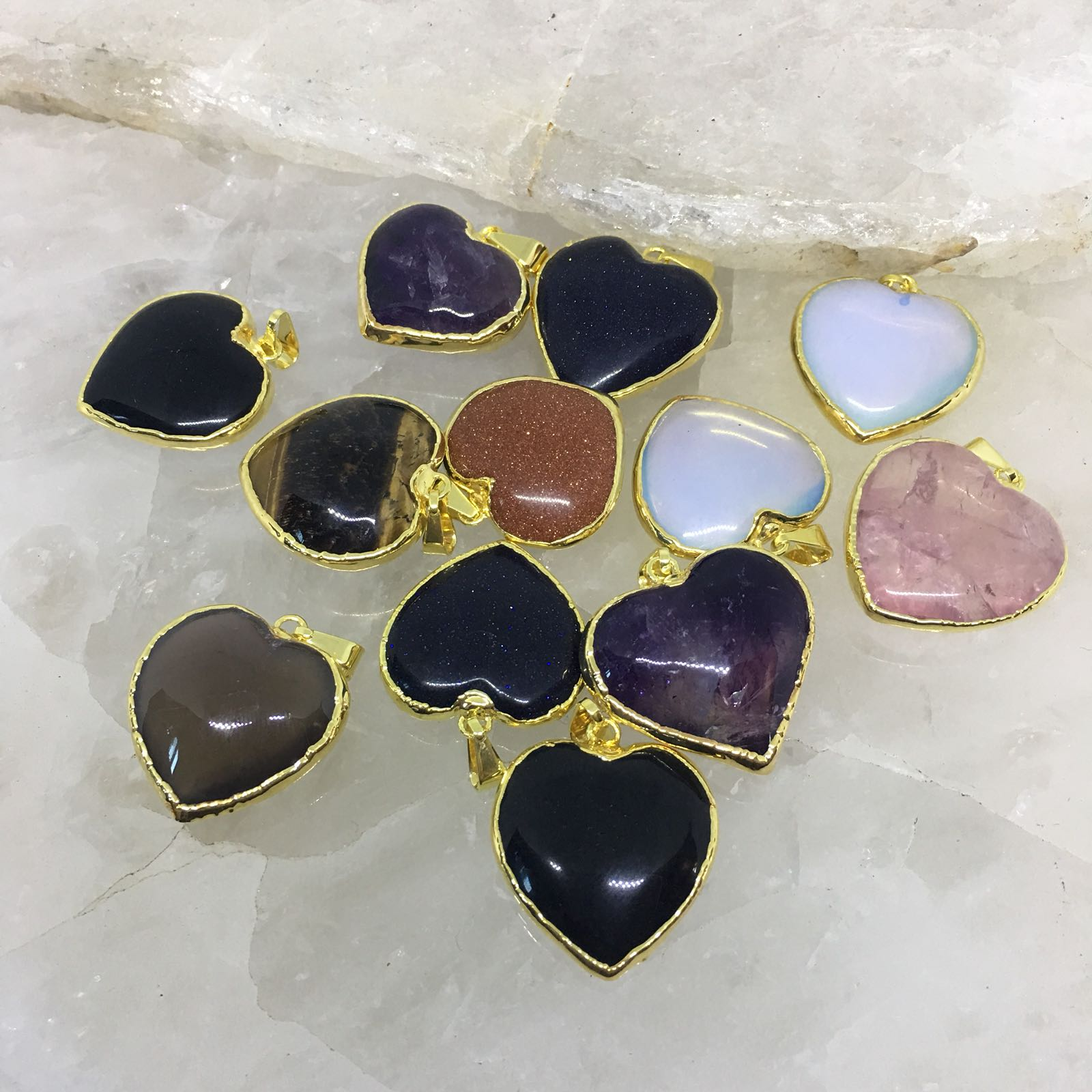 Stones from Uruguay - Gold Plated Quartz Heart Cabochon Pendants, 25mm