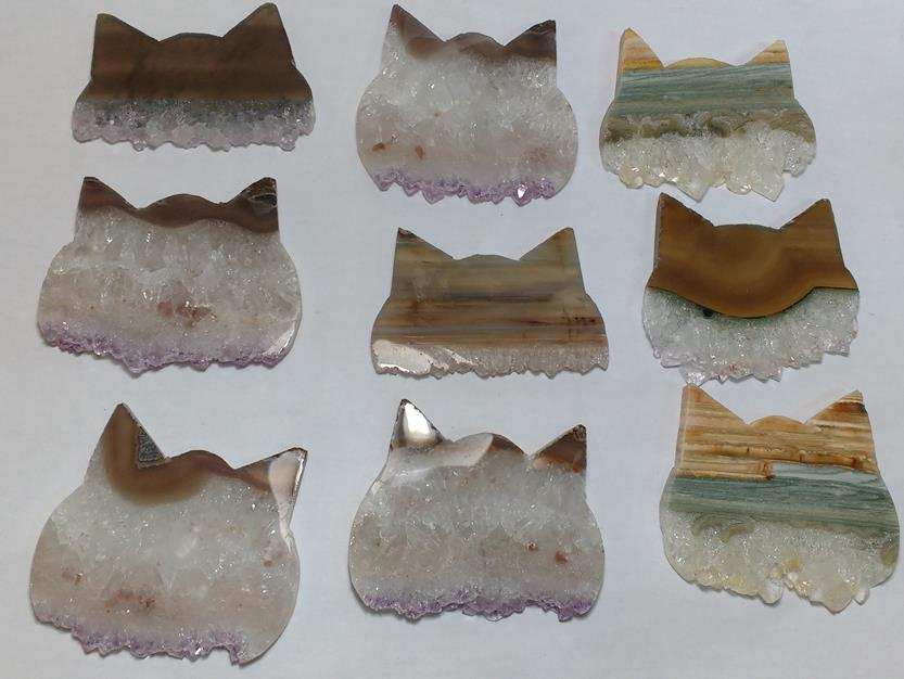 Stones from Uruguay - Amethyts Druzy Cat Head Slices, 40mm,30mm and 60mm