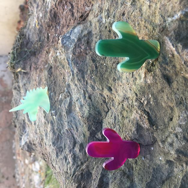 Stones from Uruguay - Green and Pink Agate Cactus for Pendant Making