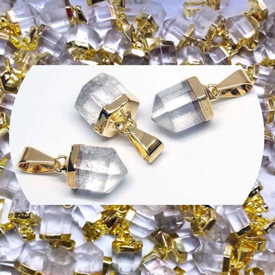 Stones from Uruguay - Clear Quartz Polished Point Pendants  with Gold Plated