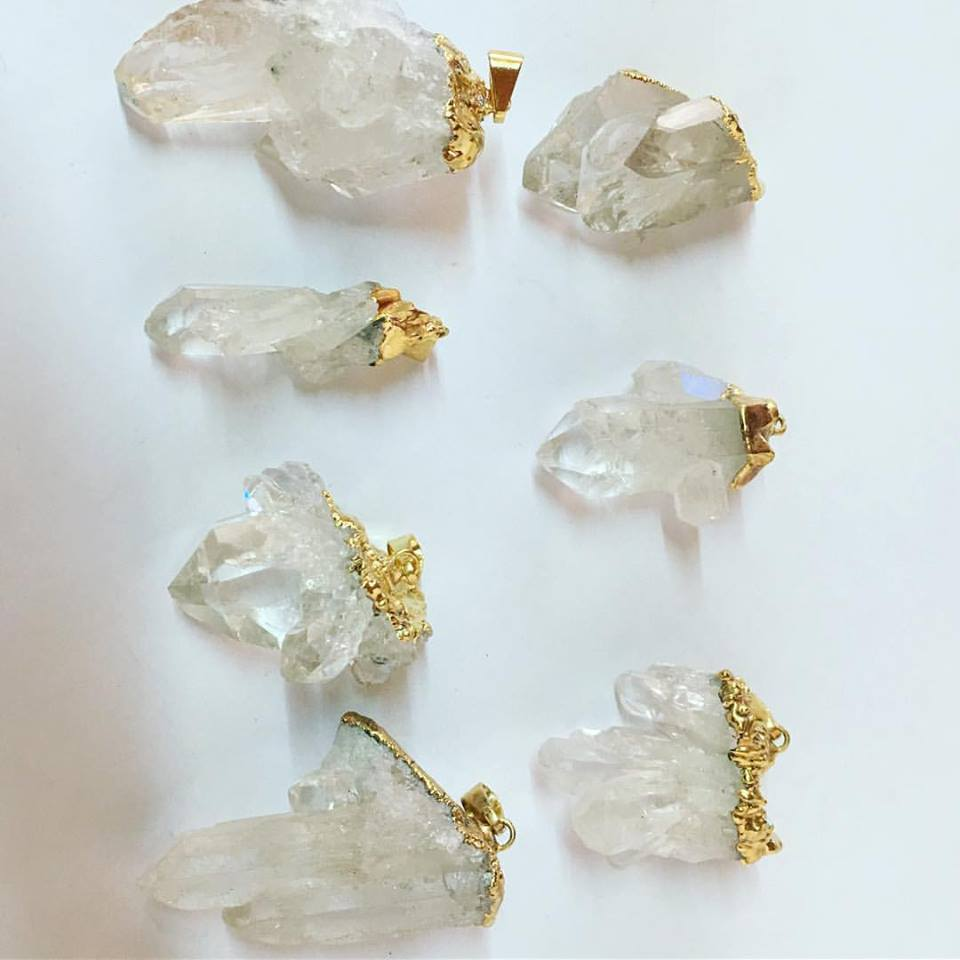 Stones from Uruguay - Clear Quartz Crystal Cluster Pendants - Gold Plated