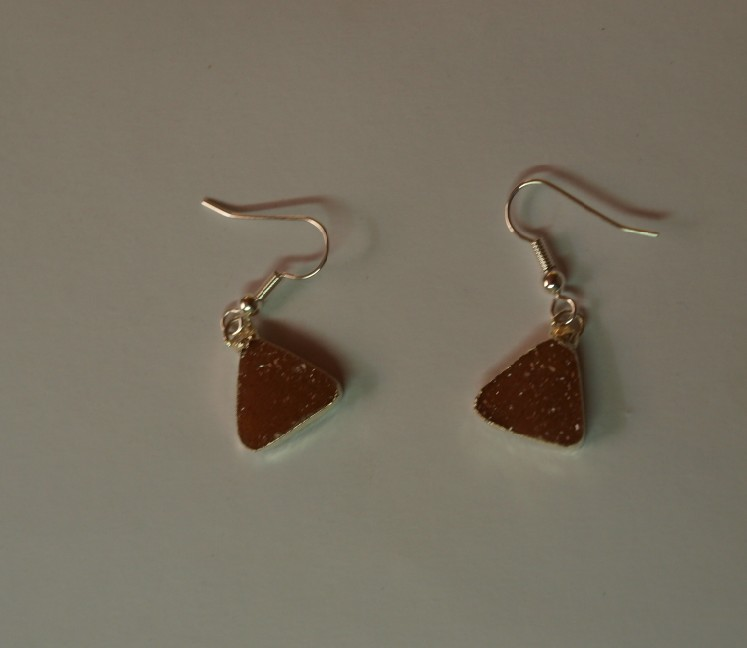 Stones from Uruguay -  Druzy Triangle Earring