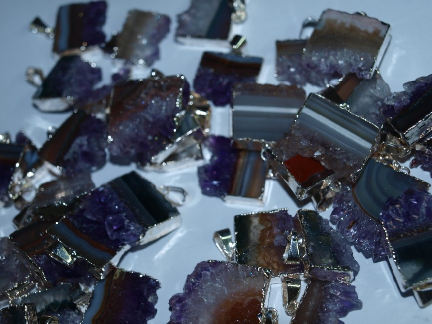 Stones from Uruguay - Amethyst Rectangular Slice Pendant with Silver  Plating (20mm)