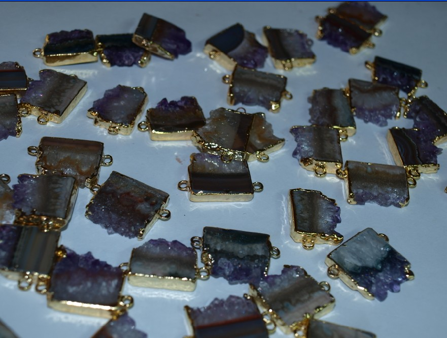 Stones from Uruguay - Amethyst Slice Connector