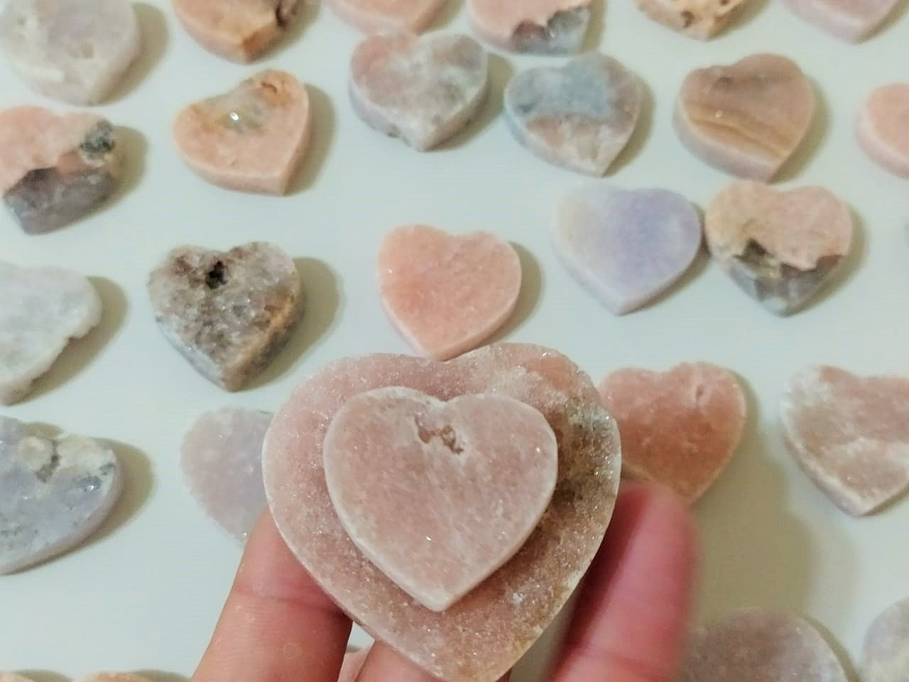 Stones from Uruguay - PINK AMETHYST CLUSTER HEARTS - PINK AMETHYST HEARTS -  ROSE AMETHYST HEARTS
