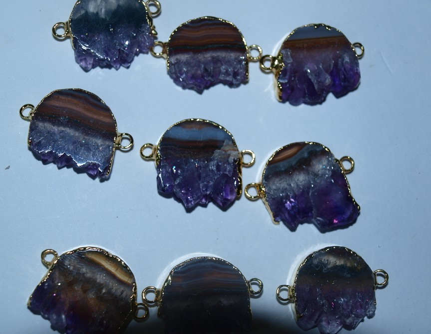 Stones from Uruguay - Amethyst Round Slices Connectors