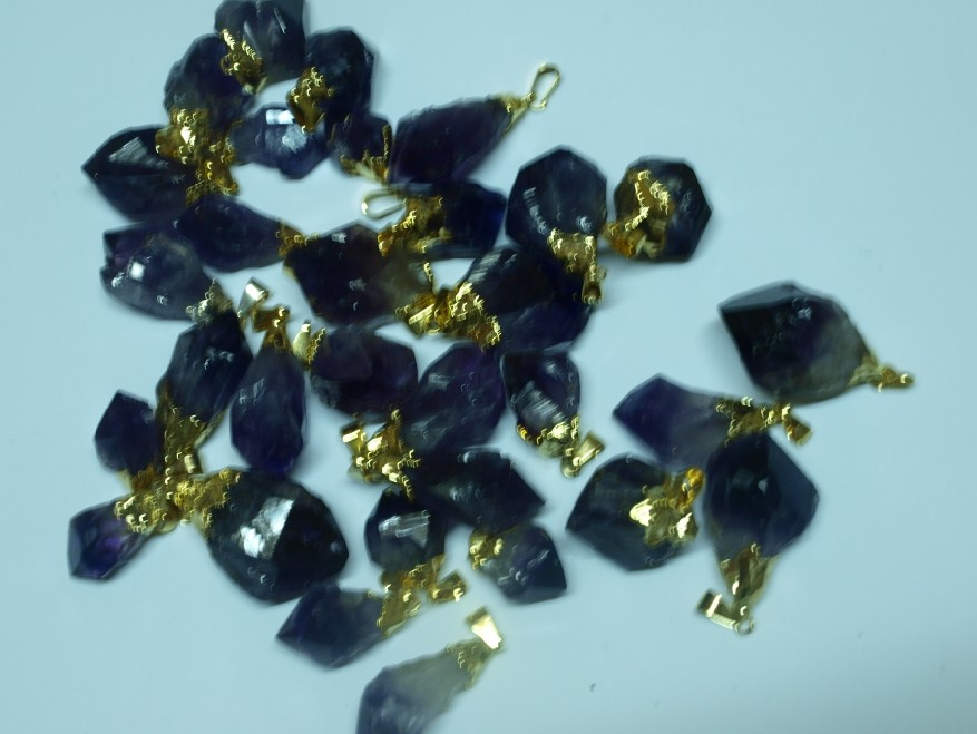 Stones from Uruguay - Amethyst Point Pendants with  Gold Plating