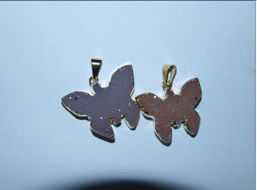 Stones from Uruguay - Druzy Butterfly Pendants