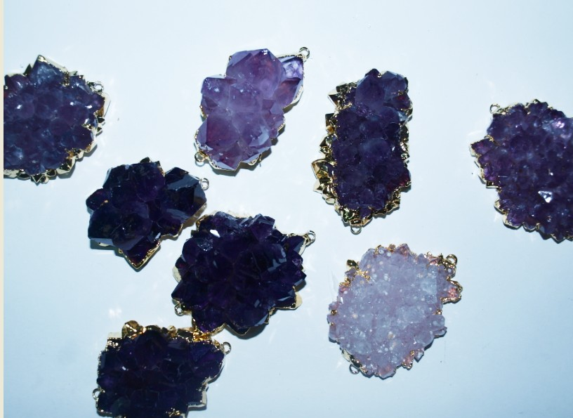 Stones from Uruguay - Amethyst Rose Connector with Gold Plating