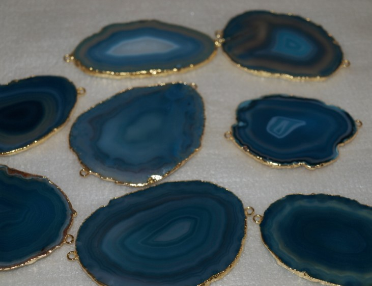 Stones from Uruguay - Light Blue Agate Slices Connectors