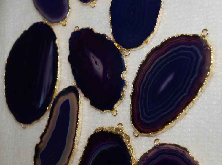 Stones from Uruguay - Purple Agate Slices Connectors