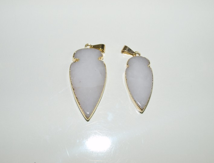 Stones from Uruguay - White Dolomite Arrowhead Pendant with Gold Plating