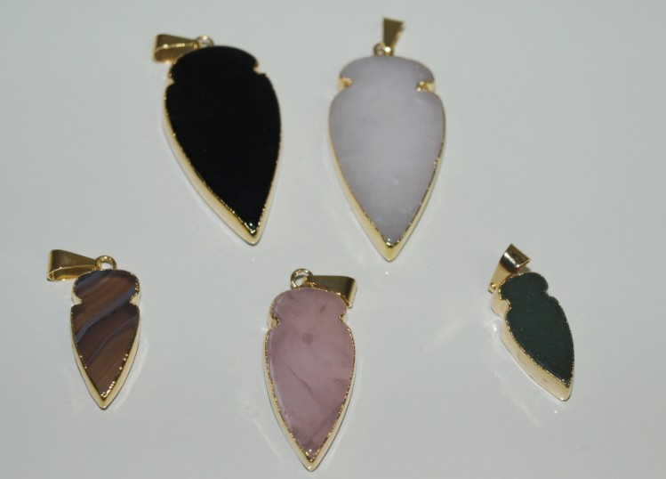 Stones from Uruguay - Arrowhead with Gold Electroplating