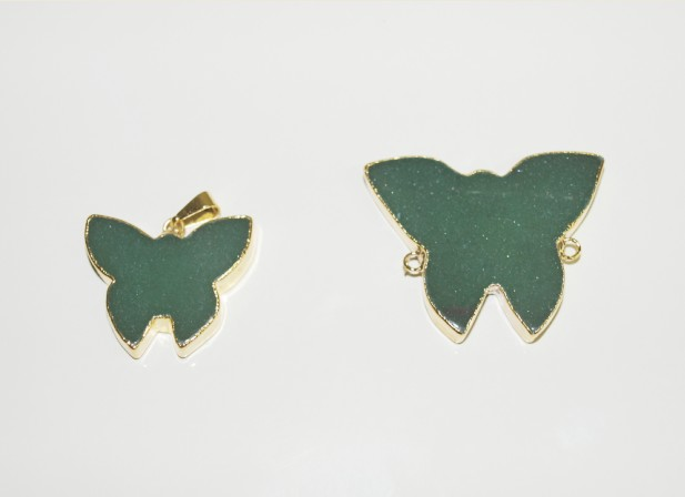 Stones from Uruguay - Green Quartz Butterfly Pendant and Connector with Gold Electroplating