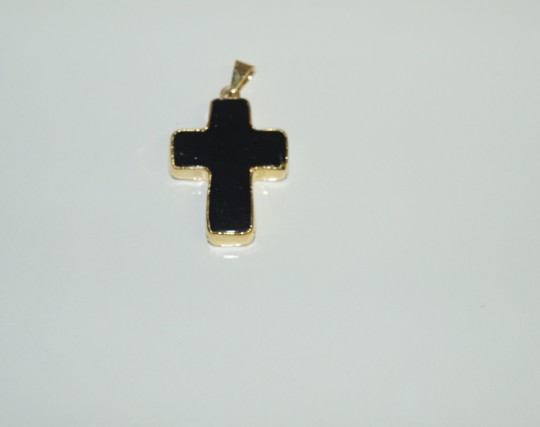 Stones from Uruguay - Black Obsidian Cross Pendant,  Gold Plated
