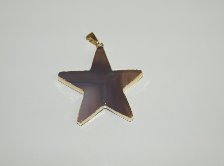 Stones from Uruguay - Grey Agate Star Pendant with Gold Plating