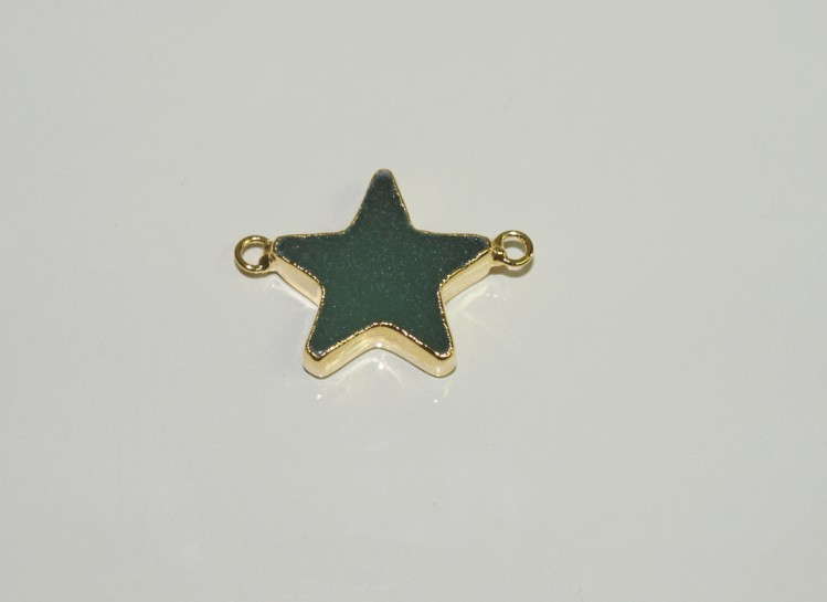 Stones from Uruguay - Green Aventurine Star Connector with Gold Plating