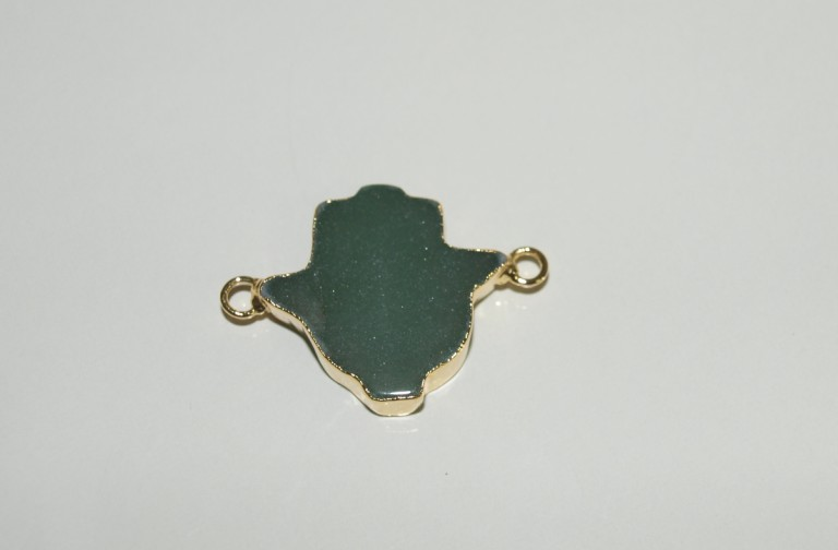 Stones from Uruguay - Green Aventurine Hamsa Connector with Gold Plating