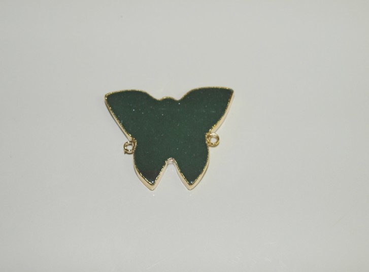 Stones from Uruguay - Green Aventurine Butterfly Connector with Gold Plating