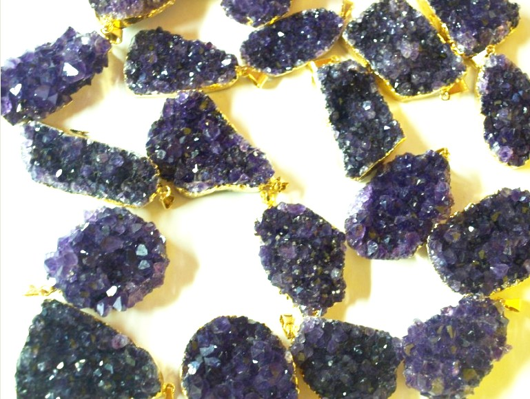 Stones from Uruguay - Amethyst Druzy Free Form Pendant with Plating (36-50mm)