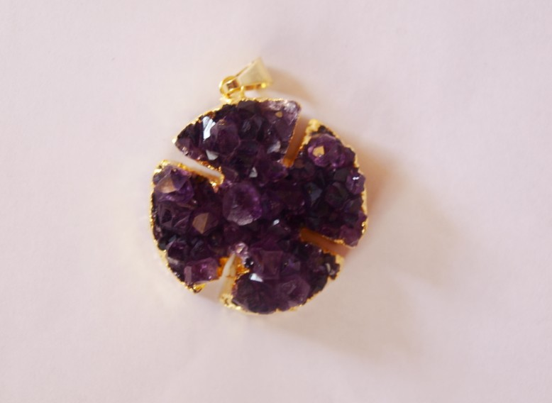 Stones from Uruguay - Amethyst Druzy Cross Pendant with Gold Plating (30mm)