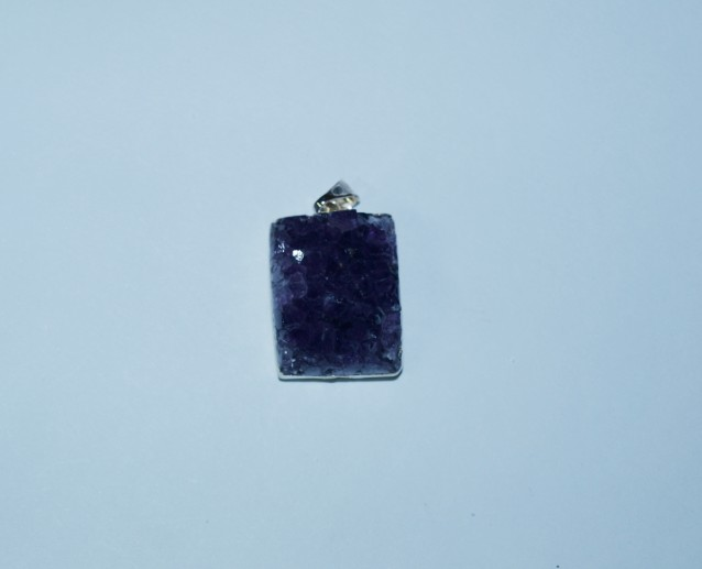 Stones from Uruguay - Amethyst Druzy Rectangle Pendant with Gold Plating