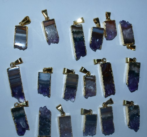 Stones from Uruguay - Amethyst Rectangular Slices with Gold Plated (10mm)