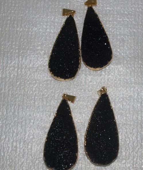 Stones from Uruguay - Natural Black Druzy Teardrop Pair with Gold Plated (40mm)