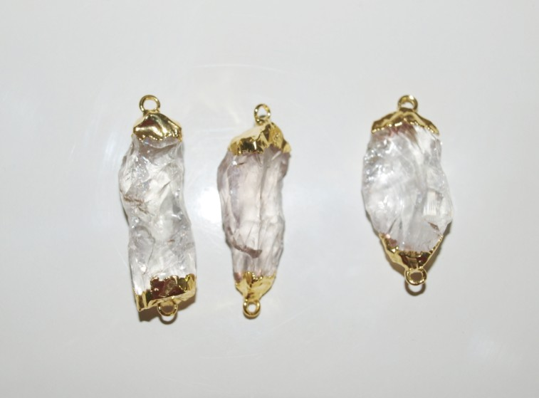 Stones from Uruguay - Rough Crystal Connector with Gold Plating(100% clear)