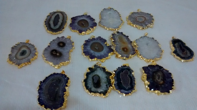 Stones from Uruguay - Amethyst Stalactite Pendant with Gold Plating (50-80mm)