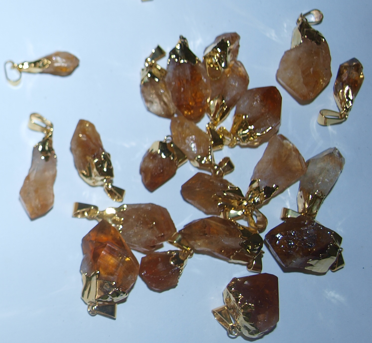 Stones from Uruguay - CITRINE POINT PENDANTS WITH GOLD PLATING